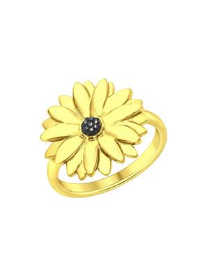 Nhẫn hình hoa cúc bằng bạc mạ vàng 93010708