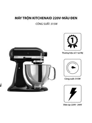 Máy trộn đứng đầu nghiêng KitchenAid Artisan® 220V màu đen